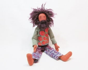 "String Cheese Incident art doll, Ooak 18"" jointed doll, orange hemp linen doll, bearded man doll, purple hair doll, festival guy doll"