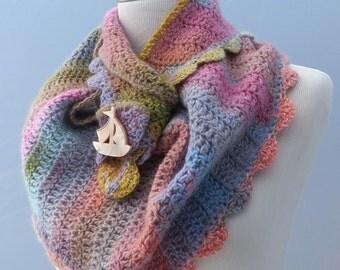 Hand crochet pastel pink blue green shawl