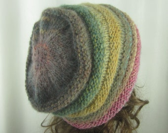 Hand Knit Sweet Berries Beanie - Soft Slouch Hat -    Warm Winter Fashion -  Womans Accessories