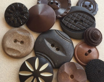 vintage eco friendly black and brown button destash in assorted compositions--mixed lot of 12