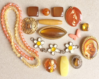 random eco friendly color coordinated jewelry components//charms cabochons beads//yellow coral brown amber--mixed lot of 16 items
