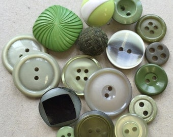 eco friendly vintage buttons//shades of green//celery sage lime moss--mixed lot of 16