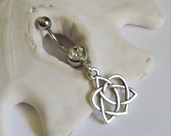 Belly Button Ring - Silver Heart Tinity Belly Jewelry - Simple Celtic Heart and Trinity Double Jeweled Barbell - Made to Order