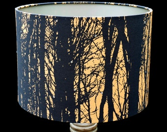Forest Sunrise Fabric Crystal Dew Drop Custom Lampshade or Ceiling Shade - Unique Home Decor
