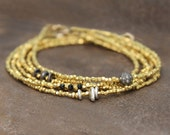 Beaded Bracelet. Delicate Black and Gold Stacking Bracelet. Tiny beads in 22k Gold Vermeil or Pure Silver. B-1916