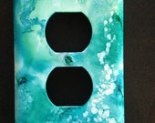 Switch Plate - Undersea Blues w Abstract Coral - Handpainted Wall Decor