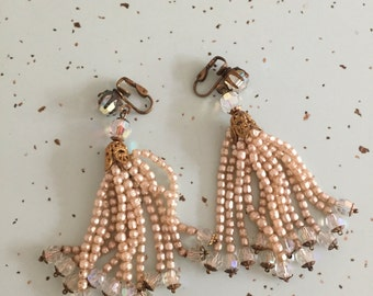 Glamorous 1950's Beaded Earrings 50's Glass Bead and Sead Pearl Evening Formal Earrings