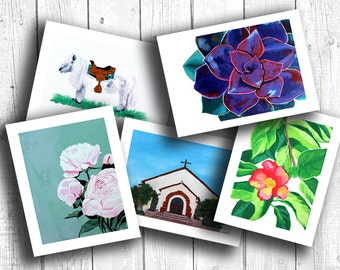 Birthday Card, Greeting Card, Blank Card, Handmade Card, Painting Print, choose any (5) paintings in card format!