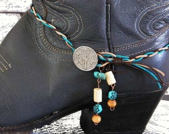 Southwestern Braided Leather Boot Bracelet with Metal Silver Button Closure. Great for Any Style Boot. FREE U.S. Shipping.