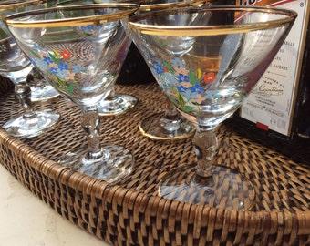 Pretty vintage sherry glasses