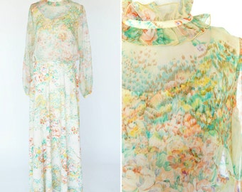 Vintage 1970's Floral Maxi Dress - Long Sleeve High Neck Formal Gown - 70's Prom Dress - ladies size small to Medium