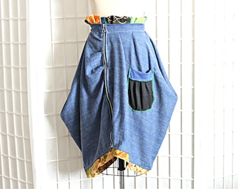 Blue Drape Cowl Skirt with Multicolor Asymmetrical Zipper Ruffle Design with Pocket