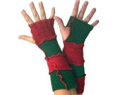 Christmas Arm Warmers, Upcycled Clothing, Fingerless Gloves, Upcycled Arm Warmers, OOAK Arm Warmers,  Holiday Arm Warmers, Gift for Her