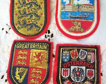 4 Patches ~ Souvenirs ~ Lions / Lion ~ Great Britain ~ Venezia ~ Osterreich ~ Danmark ~ Souvenir with Gold tone thread ~ Vintage