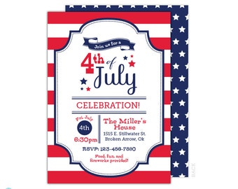 4th of July Invitation - Patriotic Invitation - 4th of july printable - BBQ invitation - Independence Day - Red White and Blue - Stripes