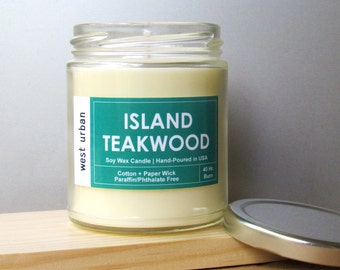 Soy Candle, Scented Jar, Home Decor, Gift, Container Candle, ISLAND TEAKWOOD