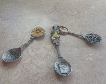 Franklin Mint Country Store pewter spoons, two left  9.39 EACH , Bon Ami, Borax 20 mule Team