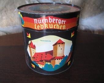 Nurnberg Tin, Mid-Century, Heinrich Haeberlein, F.G. Metzger, Metzger, A.G., Lebkuchen, Vereinigte Nurnberger, Cookie Tin,