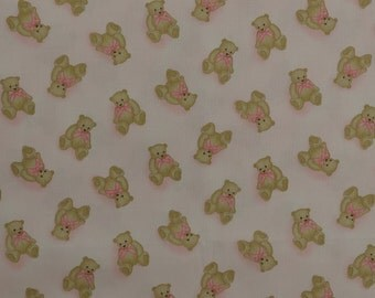Cotton Quilting Fabric Remnant, Sewing Fabric, Teddy Bear Fabric, Children Fabric, Pink Fabric - 1 Yard - CFL1839