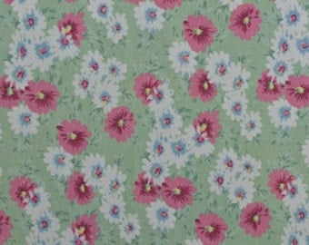 "Cotton Knit Fabric, Interlock Knit, Jersey Knit, Floral Knit, Green and Pink, Knit Remnant, Cotton Floral Fabric - 30"" x 60"" - CKF1595"