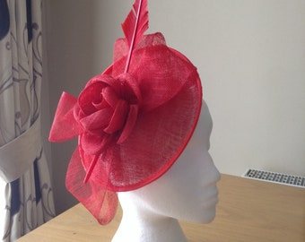 Red Sinamay and Feather Disc Fascinator on a clip races, weddings, Kentucky Derby, Royal Ascot, Melbourne Cup