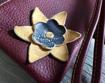 "Burgundy Leather Wristlet With Buckskin & ""Lizard"" Flower- Soft Leather Purse - One Of A Kind - Handmade - Gifts for Her"