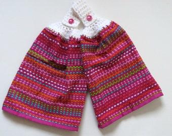 Pink Lolita Crochet Top Hand Towel Set of 2, Kitchen Hanging Hand Towel Set, Housewarming Gift