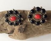 Vintage Navajo Earrings, Onyx & Blood Coral Earrings