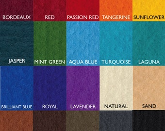 100% Merino Wool Prefelt, 19.5 micron. Over 15 colors. Felting Material. Felting Supplies.