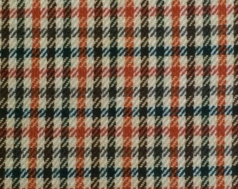Suiting Fabric / Vintage Polyester Suiting Fabric / Plaid Suiting Fabric / Orange Plaid Fabric / Retro Plaid Fabric / 1 and 1/2 Yards