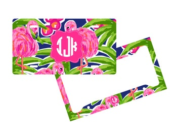 Personalized License Plate Frame - Flamingo - Monogram Vanity License Plate Frame