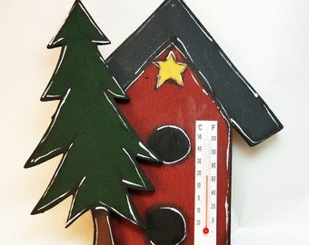 Birdhouse thermometer and fir tree - birdhouse decoration - home thermometer