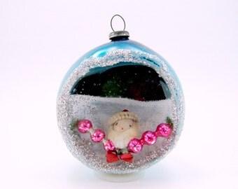 Blue Vintage Mercury Glass Santa Diorama Christmas Holiday Ornament 1950s Christmas Decoration Japan
