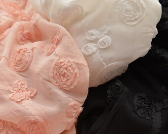 3D Flower Chiffon Fabric, Pink Black or White MJ400