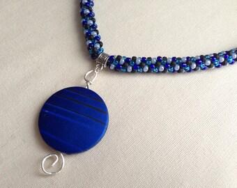 Blue Striped Focal Magatama Kumihimo Necklace