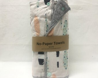 Unpaper towels, reusable paper towels, cloth paper towels, snapping paper towels - Feathers set of 12