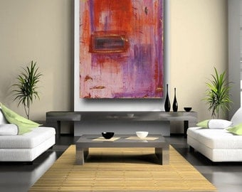 Purple and Orange Abstract Art & Collectibles Original Paintings Wall Art Contemporary Home Decor Large Wall Hangings by Cheryl Wasilow
