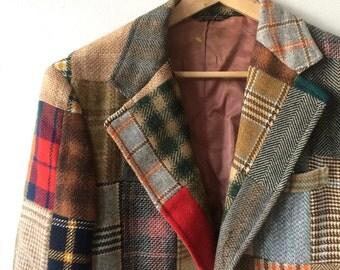 Vintage Patchwork Corbin Tweed Blazer 70s Multicolor Sportcoat Mens Size 40 1970s Menswear Equestrian