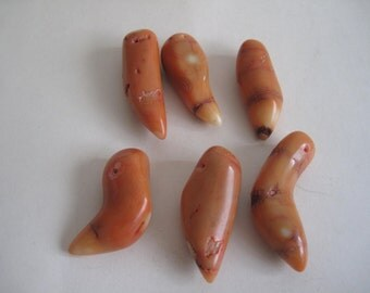 6 beads coral height 3,4-4,3 cm