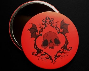 Skull Pocket Mirror - Red