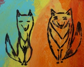 """Wolves Painting-Original Acrylic Painting-Alpha and Omega-One of a Kind-5""""x7"""" Image-8""""x10"""" White Mat Friendship"""
