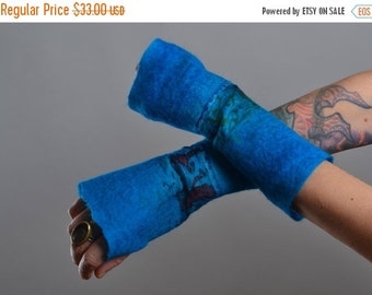 SUMMER SALE Felted Arm Warmers - Wool Arm Warmers - Fingerless Gloves - Long Gloves - Gift for her - Winter Accessories