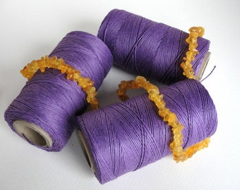 16 yards (15m.)   VIOLET  waxed   linen   thread  3-Ply (1mm)