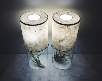 Tall Round Vessel Lamp Pair // Ecru