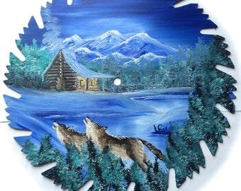 Hand Painted Saw Blade Mountain Winter Wolves and Cabin