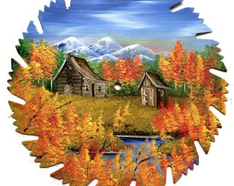 Hand Painted Saw Blade Mountain Fall Cabin and Outhouse