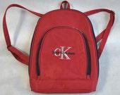 Vintage Red Backpack Calvin Klein Jeans Rucksack Weekend Bags Travel Backpack