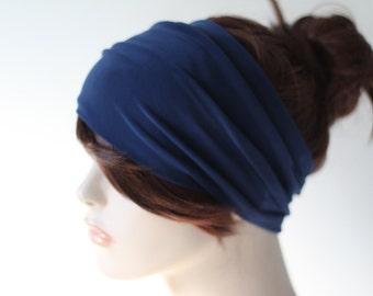 Deep Blue Navy Turban Head Wrap, Wide Hair Band, Women's Yoga Wrap, Turband, Stretch Headband, Hair Accessories, Gifts for Her, Gift Ideas