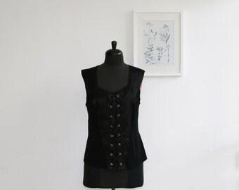 SALE/ Vintage black corset tank top/ Summer fashion/ size 14/ plus size elegant top