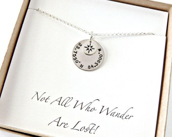 Custom Coordinate Necklace, HIgh School Graduation Gift, Wife Gift,Compass Necklace,Rose Gold,Gold Compass, Personalized Gift